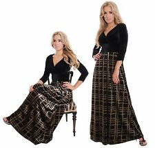 Long Evening Party Gown Formal Concert Dress Tartan Black Gold Velvet MontyQ