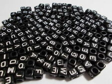 FREE SHIP 100Pcs Acrylic SINGLE LETTER A-Z Black Cube ALPHABET Charms BEADS 6MM