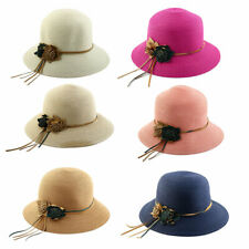 Woman Outdoor Party Travel Flower Decor Wide Floppy Brim Beach Straw Cap Sun Hat