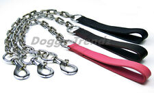 THICK SUPER HEAVY LEATHER CHROME DOG CHAIN LEAD STAFF TERRIER ROTTWEILER MASTIFF