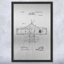 Framed Wright Bros Airplane Flying Machine Top View Patent Art Print Gift