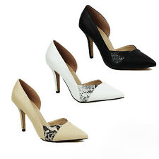 WOMENS LADIES PARTY HIGH STILETTO HEEL CUT OUT POINTED TOE COURT SHOES SIZE 3-8