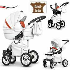 3IN1 PRAM ECO LEATHER - PUSHCHAIR + CAR SEAT - 21 COLOURS + FREE ACCESSORIES