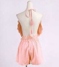 Women's Lace Hollow Out Drawstring Halter Neck Backless Jumpsuits Rompers Shorts