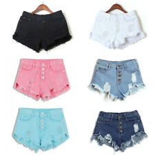 Summer Women High Waisted Washed Ripped Hole Short Mini Jeans Denim Pants Shorts
