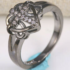 Cross Heart 925 Silver Ring Black Gold Filled 0.1Ct White Topaz Wedding Jewelry