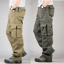 Mens Casual Overalls Loose Straight Cargo work Pants Military Outdoor Trousers