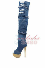 New Arrival Women Blue Denim Over the Knee Boots Platform High Heel Peep Toe
