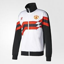 adidas Originals MANCHESTER UNITED FC TRACK MEN'S JACKET White/Black-L,XL Or 2XL