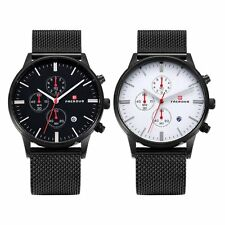 Quartz Dial Date Stainless Steel Mesh Sport Mens Black Wrist Watch Chronograph