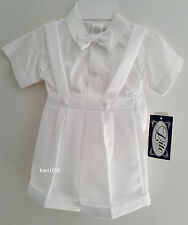 Baby Toddler Boy Christening Suit Baptism Outfit Suspenders Shorts Hat 3M-4T 850