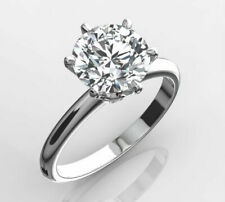 WEDDING LADY 3.00 CT ROUND CUT DIAMOND E VS1 SOLITAIRE RING 14 K WHITE GOLD