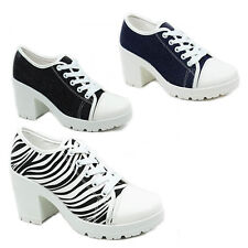 WOMENS LADIES CLEATED SOLE CHUNKY HEEL LACE UP PUMPS PLIMSOLLS SHOES SIZE 3-8