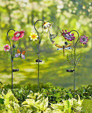 Solar Powered Flower Garden Stake Light Yard Lawn Decor Patio Stained Glass NEW