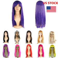US Women Long Straight Fancy Wigs Hair Straight Cosplay Anime Party Ladies Wigs