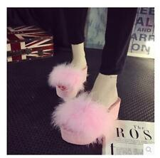 NEW Hot Sale Womens Faux Fur Open Toes Wedge Heels Fluffy Feather Sandals Shoes