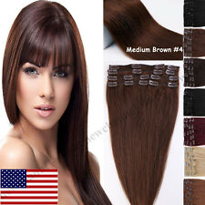 Real Clip In Human Hair Extensions THICK 90-120g Remy Human Hair Extensions B358