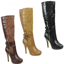 WOMENS LADIES CONCEALED PLATFORM HIGH STILETTO HEEL KNEE HIGH BOOTS SHOES SIZE 3