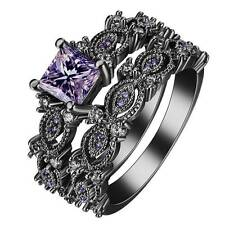 2pcs/Set Ring Silver 925 Natural 1.1Ct Amethyst Black Gold Filled Vintage Prom