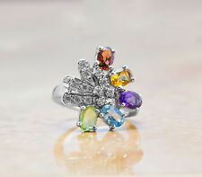 925 Sterling Silver Ring with Citrine peridot Blue Topaz Multistone Gemstones.