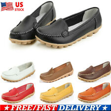 US Women Ladies Leather Casual Flats Loafers Shoes Slip On Ballet Oxfords Shoes