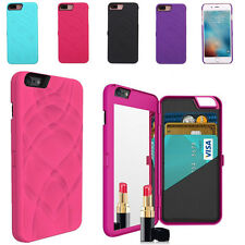 Flip Beauty Makeup Mirror Case With Card Holder Cover for iPhone 7 Plus 5.5""