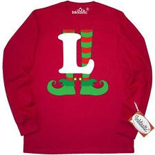 Inktastic Christmas Elf Feet Letter L Monogram Long Sleeve T-Shirt Red And Green