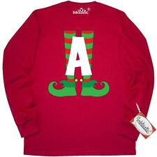 Inktastic Christmas Elf Feet Letter A Monogram Long Sleeve T-Shirt Red And Green