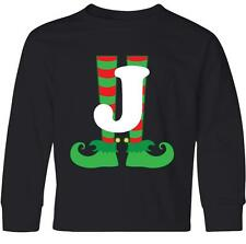 Inktastic Christmas Elf Feet Letter J Monogram Youth Long Sleeve T-Shirt Red And