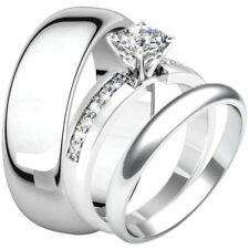 Stainless Steel Princess Cut CZ Engagement Wedding Promise Ring & Band Set Heart