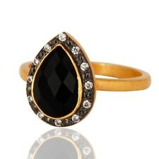 925 Sterling Silver Natural Black Onyx Gemstone 22K Gold Plated Ring CZJewelry