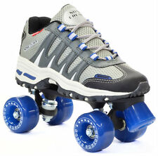 New! Silver Sonic Cruiser Outdoor Quad Roller Skates w/ Blue Wheels & Toe Stop