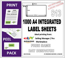 1000 EBAY & AMAZON INTEGRATED POST PACK ADDRESS LABEL A4 (S13 integrated labels)