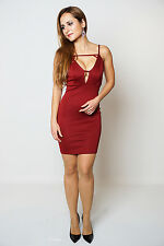 Aliya Wine Low Plunge Front Cut Out Detail Sleeveless Bodycon Dress