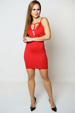 Aliya Red Low Plunge Front Cut Out Detail Sleeveless Bodycon Dress