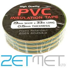 GREEN/YELLOW Earth PVC Electrical Insulation / Insulating Tape 19mm x 33m