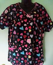 Women's Scrub Top, sz M, by Dickies. Black w/bright red, teal & pink hearts.