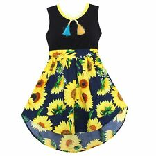 Girls Dress Black Sunflower Print Cute Party Pageant Holiday Children Clothes