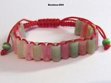 NATURAL Jade Carved BAMBOO Chinese Lucky Wealthy FENG SHUI Bracelet - RED thread