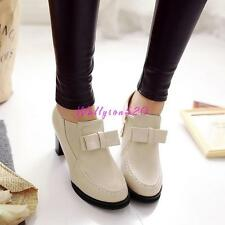 Casual Womens lady Bowknot Zip Chunky Heels Platform Spring Shoes Plus Size