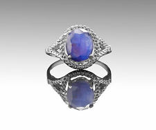 Natural Blue Sapphire Gemstone Ring made with 925 Sterling Silver Handmade.