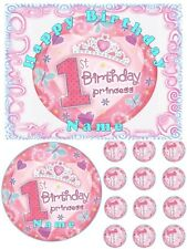 EDIBLE CAKE TOPPER GIRLS 1ST FIRST BIRTHDAY PRINCESS ICING SHEET IMAGE PARTY