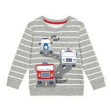 Bluezoo Kids Boys' Grey Striped Vehicle Applique Sweat From Debenhams