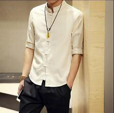 Chinese Men's Tunic Suit Jacket Casual Summer Kung Fu 3/4 Sleeve Linen Coat Tops
