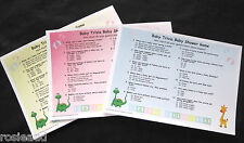 BABY TRIVIA - YELLOW, PINK OR BLUE BABY SHOWER GAME - 20, 30 or 40 CARDS