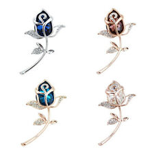 Gift Brooch Rhinestone Alloy Crystal Rose Flower Brooches 1Pcs Clothing