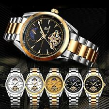 Moon Phase Automatic Mechanical Watch Stainless Steel Formal Wrist Unisex Watch