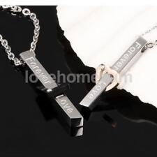 Forever Love Men Womens Stainless Steel Couples Ring Pendant Necklace Chain Gift