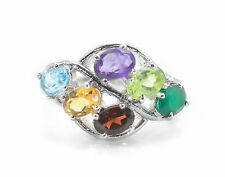 925 Sterling Silver Ring with Rhodolite Citrine Blue Topaz Amethyst Peridot Onyx