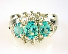 Genuine Blue Green Madagascar Apatite & White Topaz Ring 925 Sterling Silver